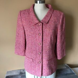 Talbots Boucle Blazer in Pink Multi Color - 626